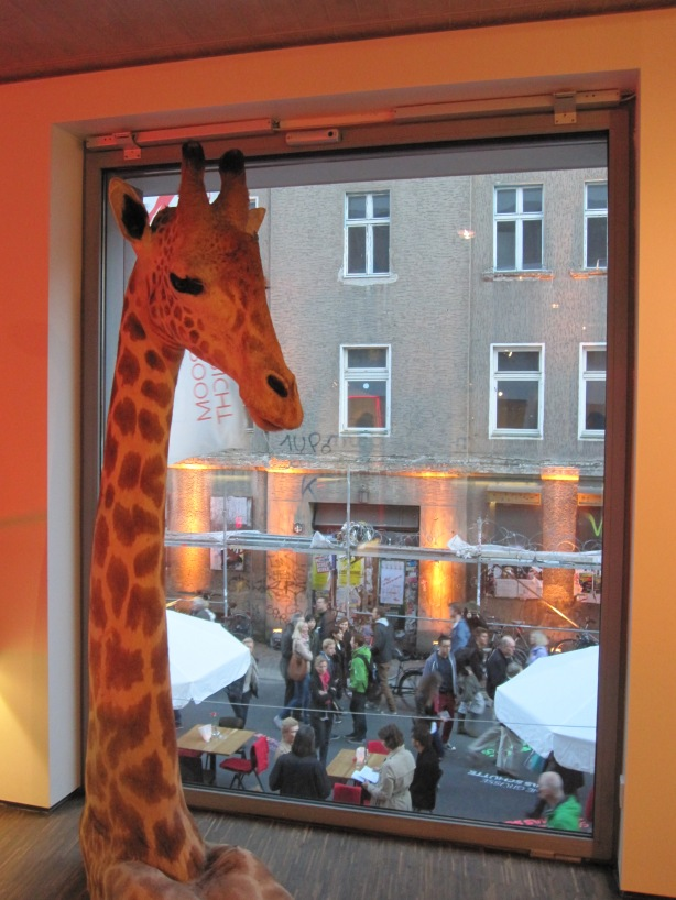 View from ME café (Olbricht Collection) of the opening party underway in Auguststrasse