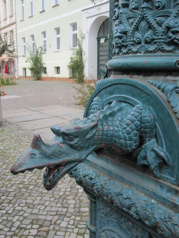 Water pump carving Berlin-Prenzlauer Berg October 2013