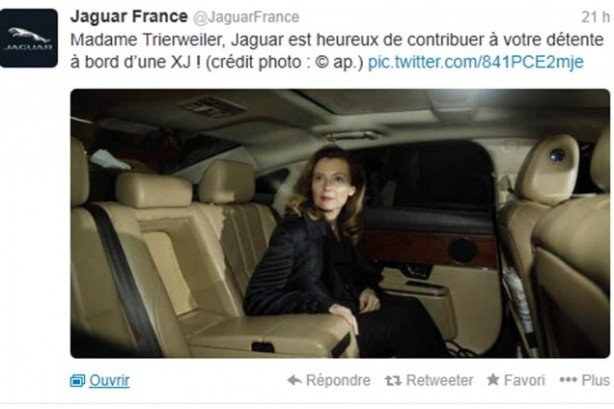 Madame Trierweiler, Jaguar is delighted to have helped you relax...""