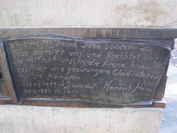 Detail, plinth of Heine memorial in Berlin-Mitte