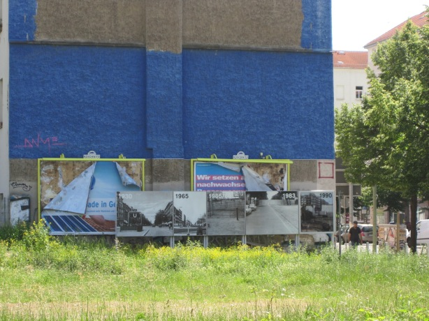 The Berlin mix: Wall memorial plaques and graffiti in former no man's land at Bernauer Str. in northern Berlin.