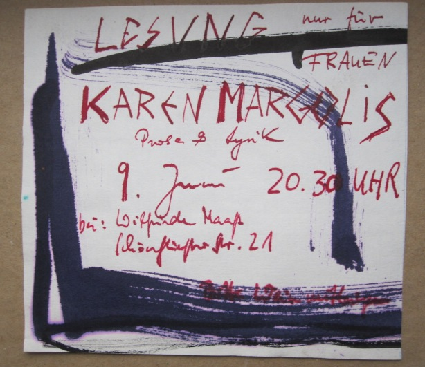 Underground reading in East Berlin - hand drawn invitation by Petra Schramm to woman-only literary reading in Wilfried Maaß's pottery, 9 June 1989.