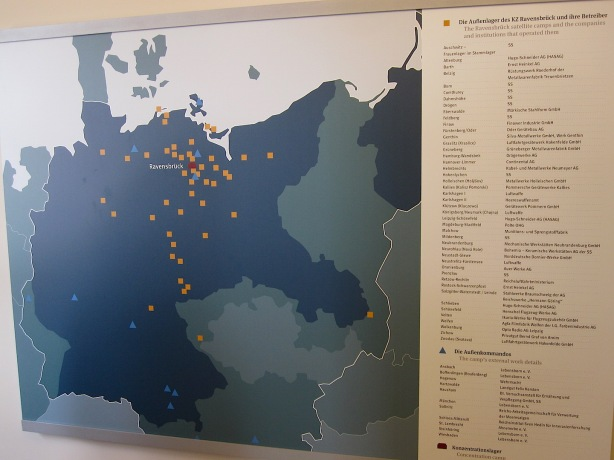 Ravensbrück's network of satellite camps and work details for slave labour (from permanent exhibition)