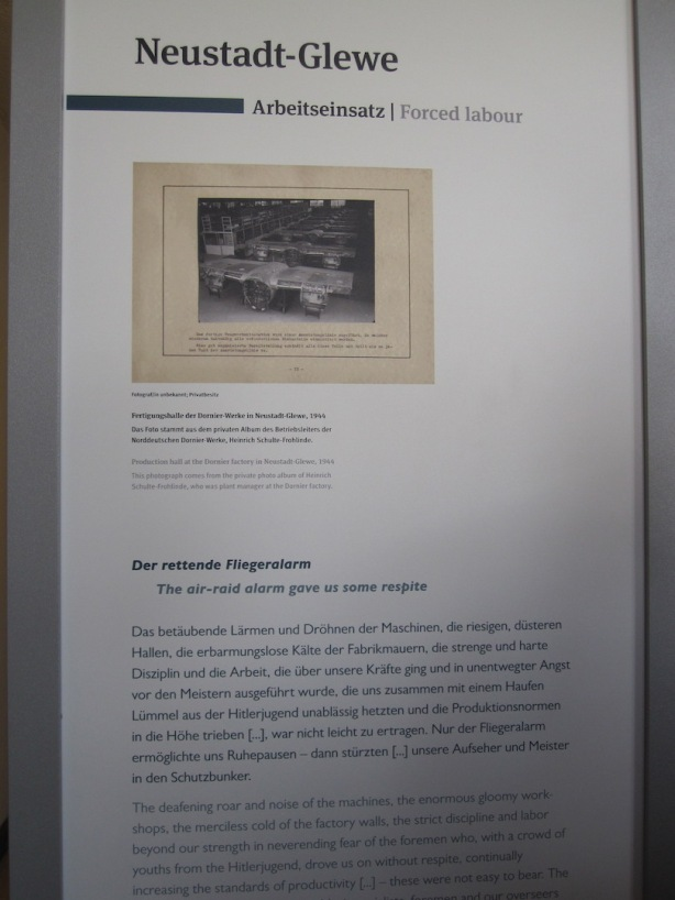 Slave labour in the aircraft industry at Neustadt-Glewe work detail. Working conditions were arduous and many prisoners died on the job.