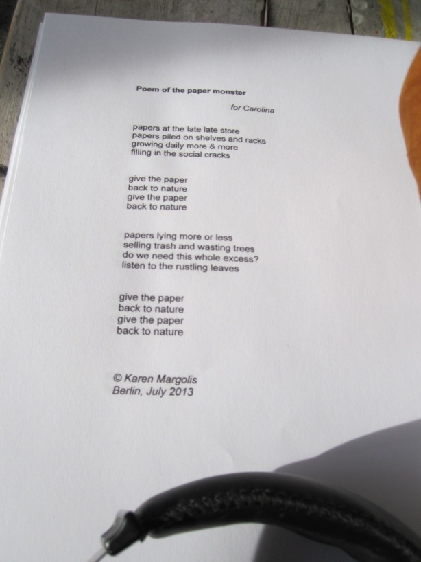Poem of the Paper Monster © Karen Margolis 2015