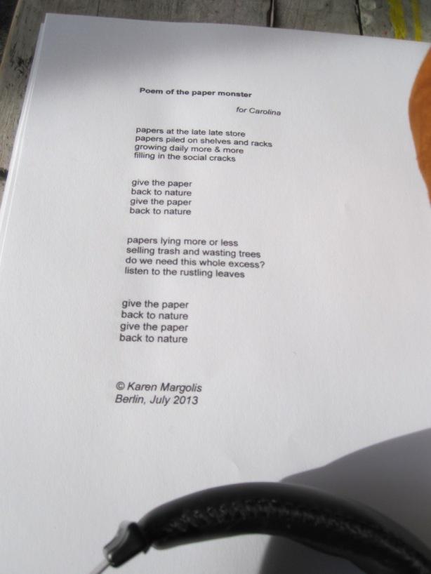 Poem of the Paper Monster © Karen Margolis 2015