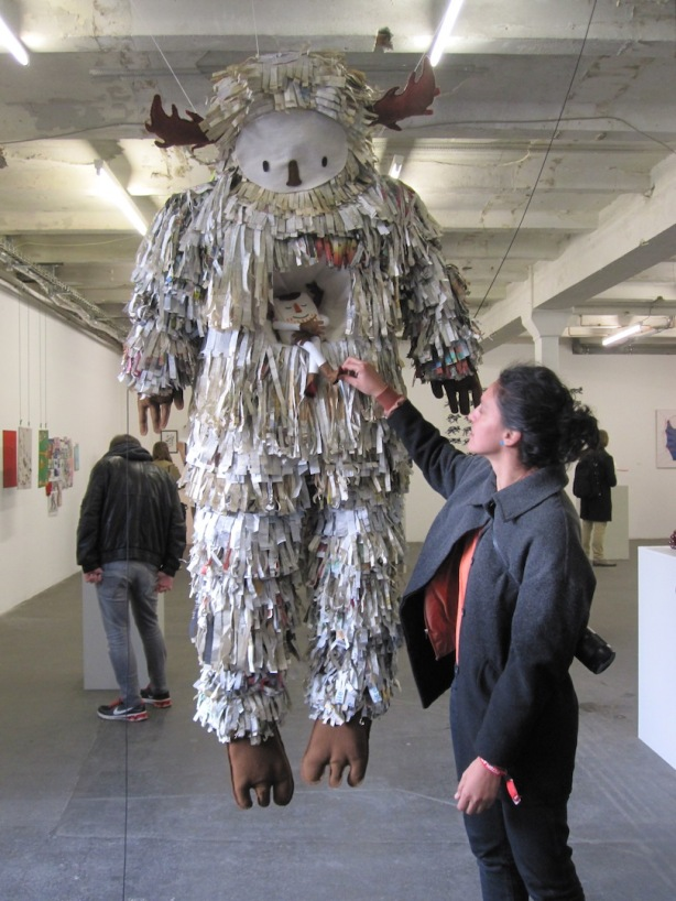 Artist Carolina Cruz with her Paper Monster at the Pictoplasma All Stars show, Urban Spree, 29 April 2015