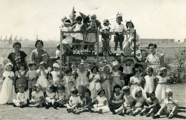 Children at a Hebrew nursery school in Germiston, South Africa, including the author and her two sisters, celebrating Purim in March 1957.