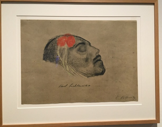 Head of Karl Liebknecht (after death), Käthe Kollwitz, drawing 1919
