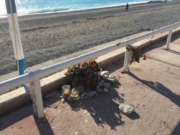 Tiny memorial on the Promenade near the attack site.