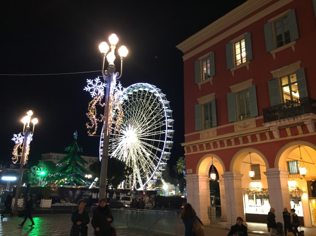 Christmas funfair seen from Place Masséna, Nice, December 2016